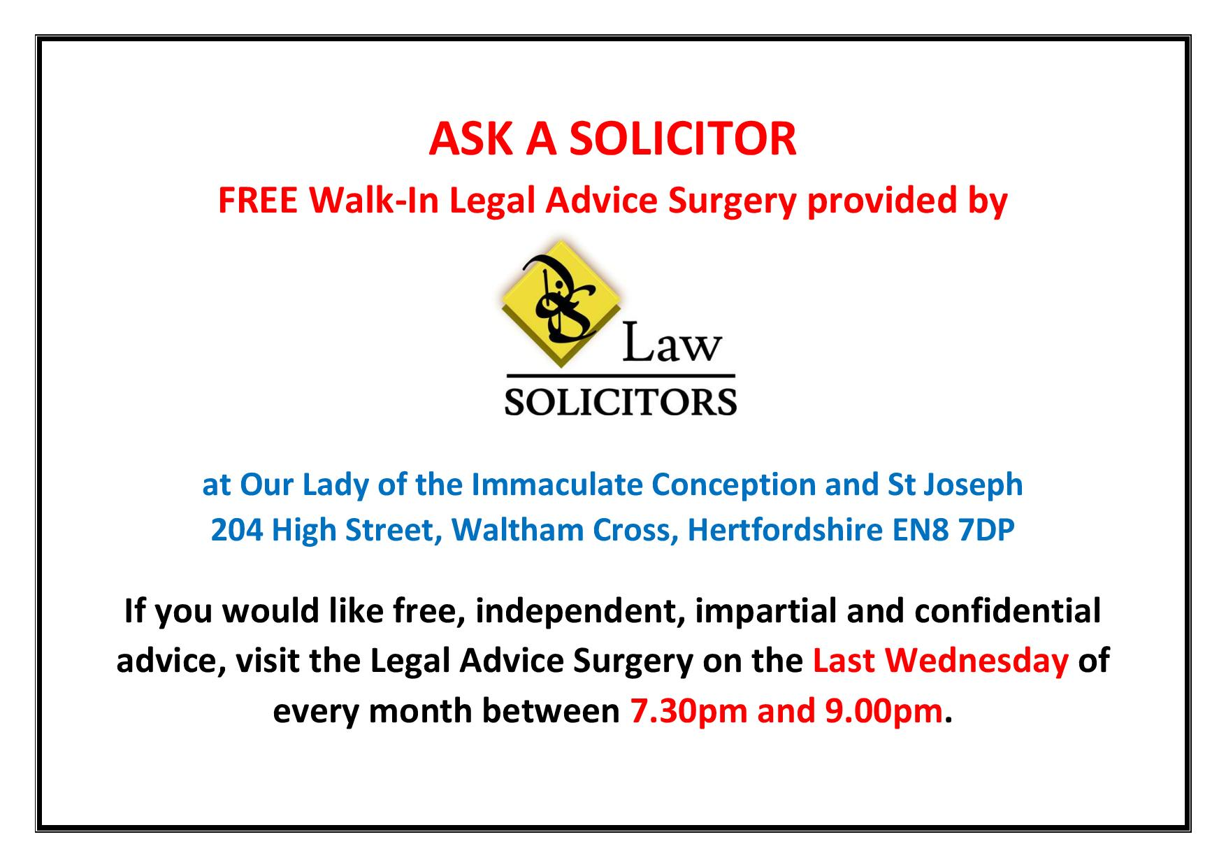 Free Legal Advice Surgery provided by DJS Law Solicitors