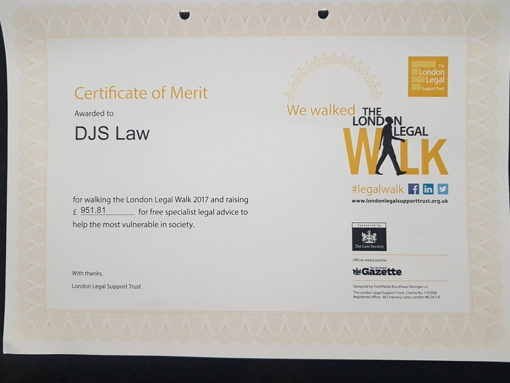 DJS Law Solicitors raises money for the London Legal Walk 2017